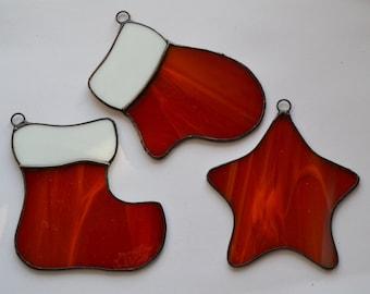 Set of 3 Stained Glass Christmas Decoration, Ornament, Stocking, Mitten, Star, Tree, Holiday, Window decor, Suncatcher