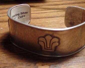 Sterling Silver bracelet cuff style aztec design