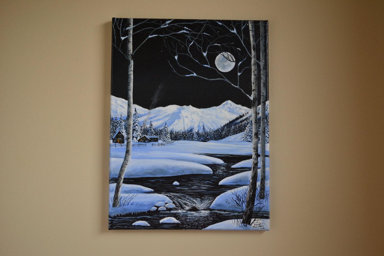 Original 12x16 39 acrylic crisp winter night painting for How to acrylic