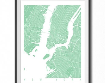 NEW YORK Map Art Print / New York Poster / New York Wall Art Decor / Choose Size and Color