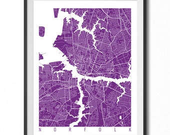 NORFOLK Map Art Print / Virginia Poster / Norfolk Wall Art Decor / Choose Size and Color