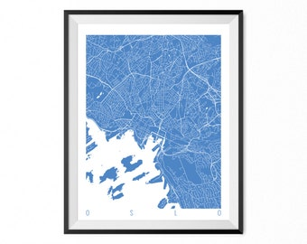 OSLO Map Art Print / Norway Poster / OSLO Wall Art Decor / Choose Size and Color