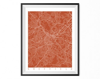 SHEFFIELD Map Art Print / UK Poster / Sheffield Wall Art Decor / Choose Size and Color