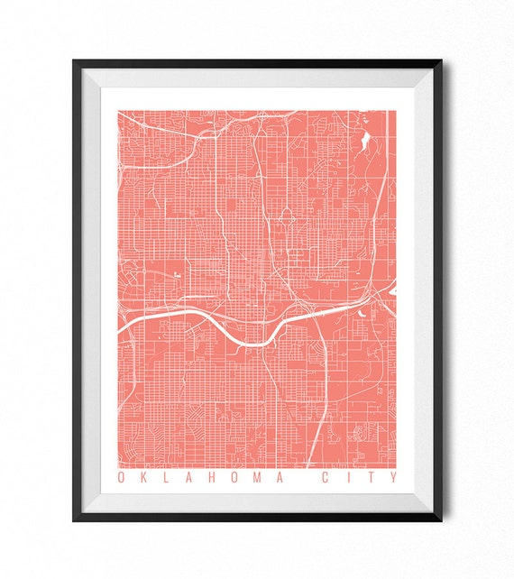 OKLAHOMA CITY Map Art Print / Oklahoma Poster / Oklahoma City
