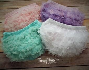 Ruffle Butt diaper cover, baby diaper cover, chiffon ruffle diaper cover, baby girl diaper cover, bloomers, shower gift