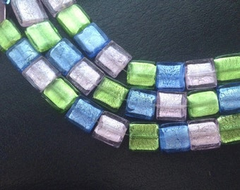 19 Mixed Silver Foil 20MM Flat Square Glass Beads