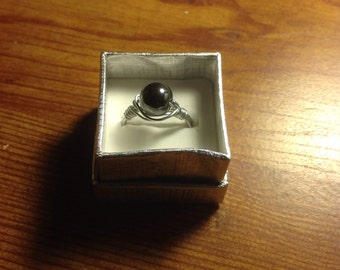 New handmade wire wrapped hematite bead ring size 10