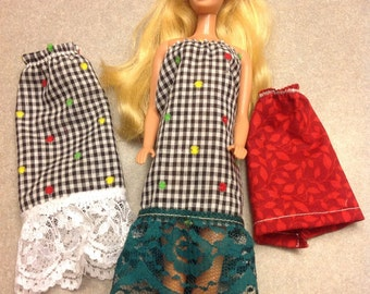 2 x New hand made barbie doll dresses and a skirt