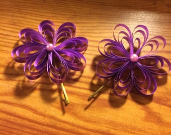 ribbon flower bobby pins hair accessories New Handmade