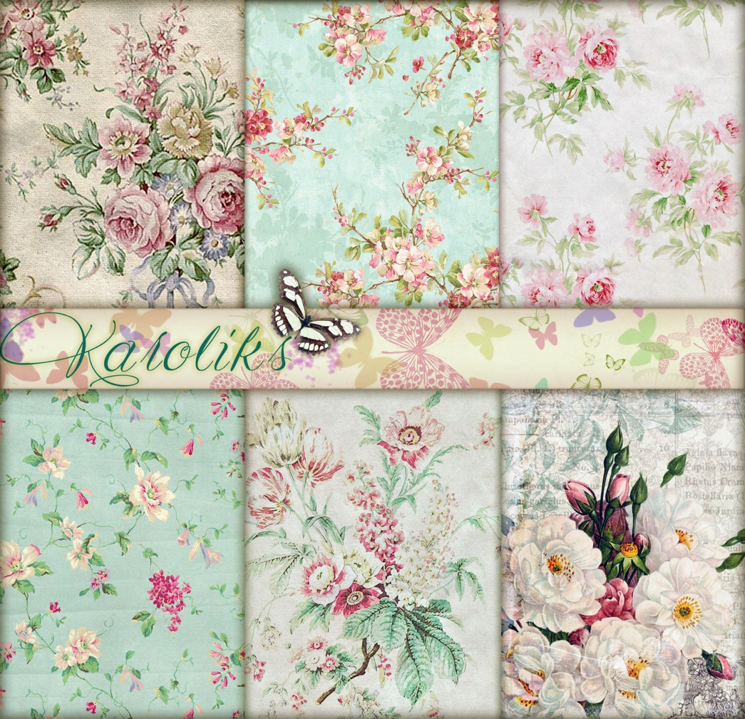 Mint Wedding Digital Floral Paper Vintage Wedding Invitation Digital  Wedding Supplies Scrapbook Digital Paper Shabby Chic Download K-15 –  OnePaperHeart – Stationary & Invitations