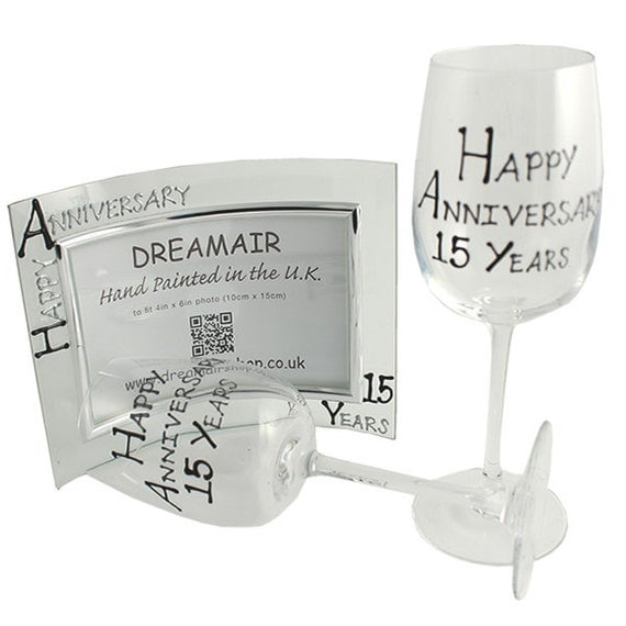 15th Wedding Anniversary Gift Ideas Uk : Happy 15th Year Wedding Anniversary Wine Glasses and Photo Frame Gift ...