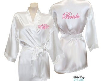 Monogrammed Bride Robe with initials and Bride on the Back, personalized satin bride robe, white satin bride robe, satin bridal robe, gift