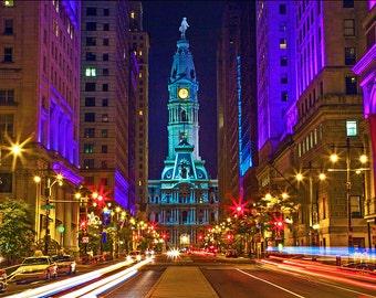 Philadelphia City Hall at Night Canvas Art (30x40)
