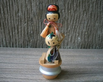 1970s Vintage Japanese Mother And Child Kokeshi Doll
