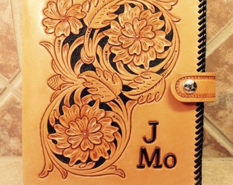 Hand Tooled Leather Planner Binder, personalized