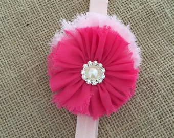 Pink flower headband, Lite pink and bright pink double flower headband, Pretty in pink headband, Newborn pink headband, Girls headband