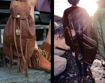 Handmade leather backpack with two side pockets and fringing. Bohemian nomadic style.