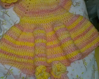 infant dress, booties and headband