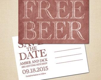 save the date postcard 4x6 DIY printable digital file free beer