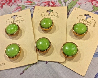 Vintage LaMode Buttons, Original Card, Two Piece Buttons, Moss Green Set,  Gold Base, Self Shank, Lot of Buttons,  Circa 1980s Made in Japan