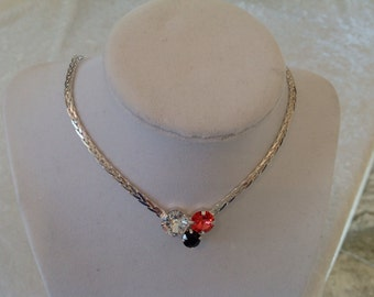 Swarovski crystal necklace- crystal necklace- black- coral- crystal- bridesmaids- holiday gift- supporting cancer awareness