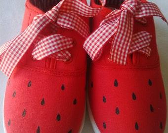 Watermelon canvas shoes