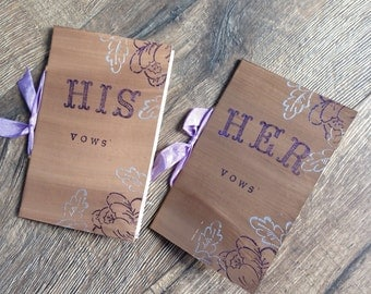 Vow Books, Rustic Wedding Vow Books, Bride and Groom Vow Books, Upcycled vow books, Custom
