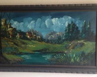 Art Painting Paint Work Oil Original L Dudas Nature River In Wood Frame Original
