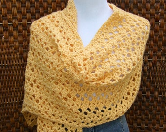 Lacy  crocheted shawl, open stitch butter yellow wrap, bohemian, open work stitch, unique gift, ultra soft, oversize scarf