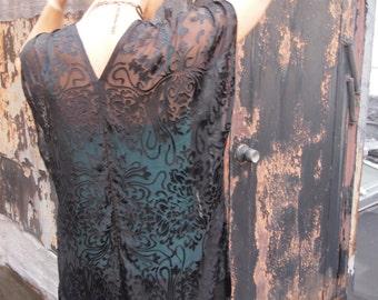 Silk fringe kimono - Black kimono -Burnout silk jacket -Boho kimono - Bohemian clothing