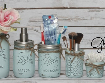 6 Piece Ball Mason Jar Bathroom Set - MANY COLORS - Hand Painted Distressed Bathroom Set Home Decor Housewarming Gift Shower Gift Birthday