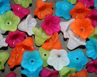 50 Frosted Trumpet Flower Beads, Mix 2, acrylic, lucite style beads, flower beads, jewellery making, jewelry making
