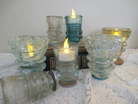 Insulator candle holder glass insulator by salvagesistersmnwi for Insulator candle holder