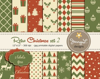 Retro Christmas, Christmas Digital Paper, Vintage Christmas Papers, Holiday Digital Scrapbooking Paper, Antique, Red and Green Christmas
