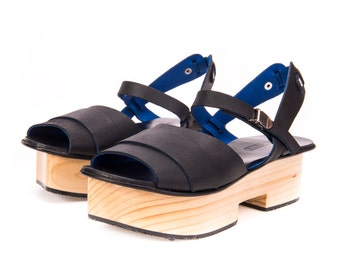Black Leather Sandals / Women High Heels Platform Shoes / Summer Clogs / Every Day Shoes / Office Casual Shoes / Evening Shoes - Nuriko