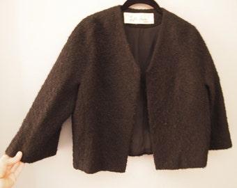 Chanel Jacket Black Wool Boucle Lilli Ann Small Medium