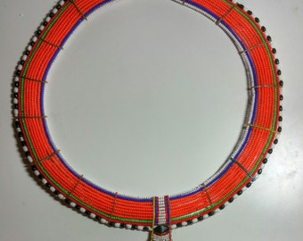 "African Maasai Necklace ""Oltirrbe""- Orange"