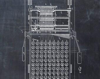 Patent Print of an Adding Machine - Patent Art Print - Patent Poster - Calculator - Calculating Machine