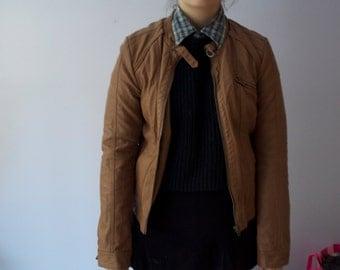 306. SALE~ 90s Tan Leather Jacket