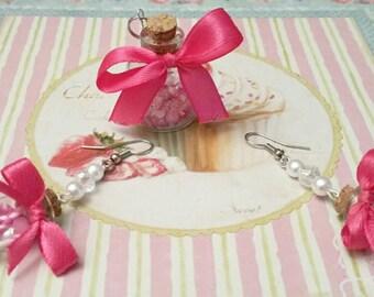 Desire bottles ;) Earrings + pendant Pink/White