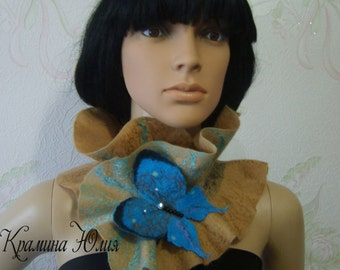 Nuno felted scarf-Felted wool scarf-Felted scarf-Nuno felted shawl-ready to ship-butterfly-turquoise-brown