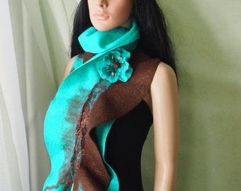 Felted wool scarf-Nuno felted scarf-Felted scarf- Felted scarves-felted shawl--wool scarf-nuno felted shawl-wool silk scarf-Turquoise brown