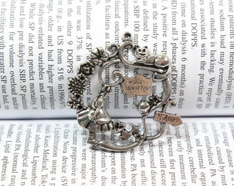 Antique silver Alice in Wonderland Charms Pendant, fairy tale world Charms Connector 42x43mm