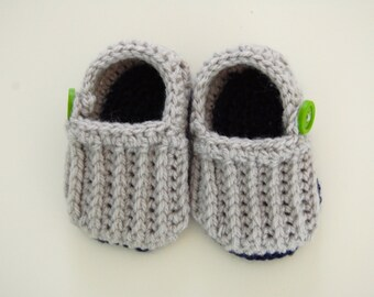 Baby Boy Crochet Loafers with Button