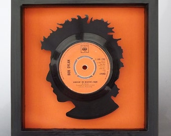 Bob Dylan 'Blowin in the Wind' Silhouette Vinyl Record Art