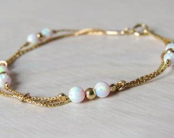 White Opal bracelet, opal bead bracelet, opal gold bracelet, opal jewelry, tiny opal bracelet, beaded bracelet, minimal bracelet
