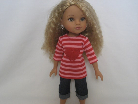 Hearts 4 Hearts Doll Clothes - Striped Heart Shirt and Pants