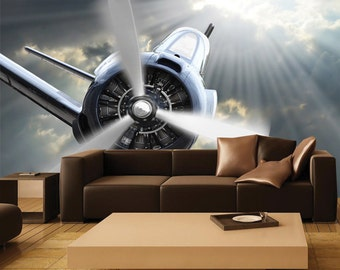 Aircraft wall decals etsy for Aeroplane wall mural