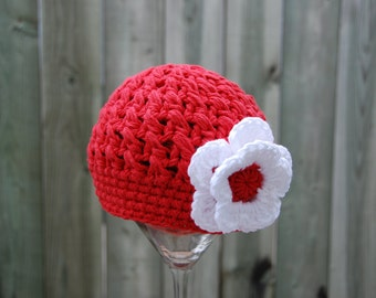 3-6 months girl hat, Christmas crochet cotton girl beanie, photo prop, red with white flower, valentine, hat with flower,  ready to ship