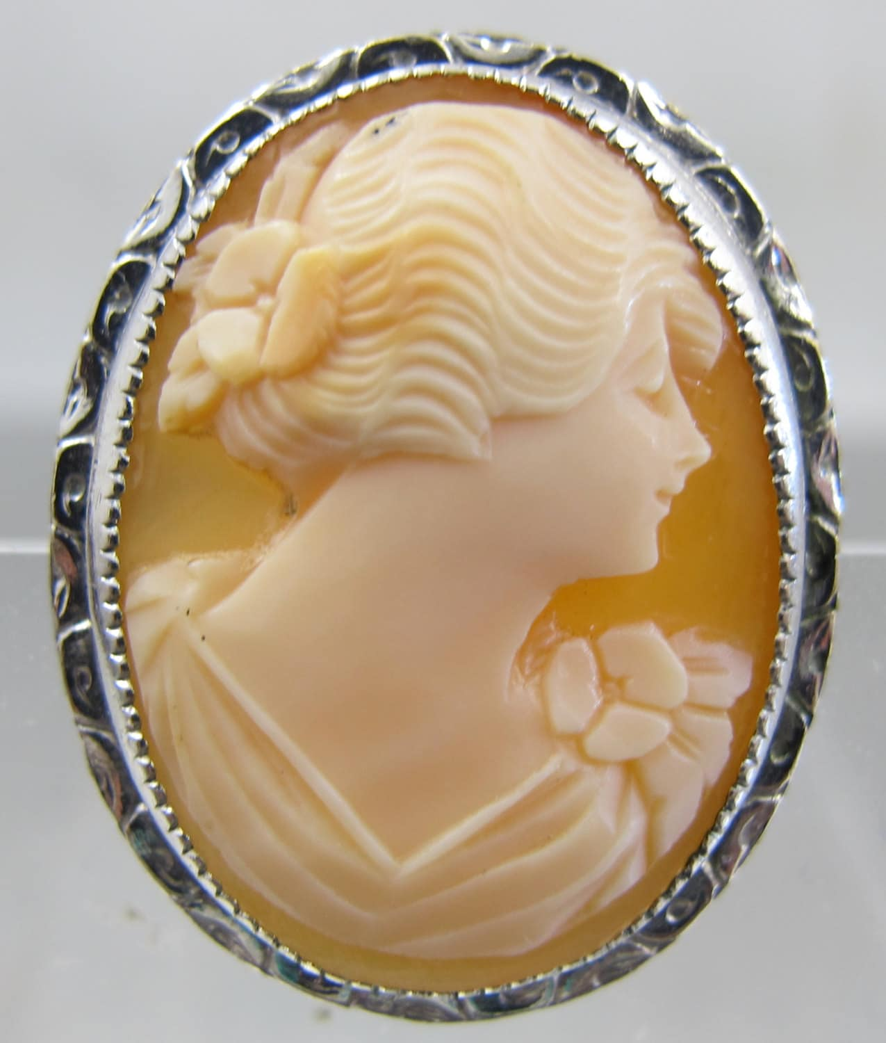 Vintage Cameo Brooch Pendant Carved Shell Cameo Silver Ornate
